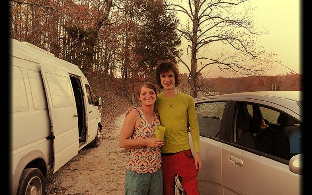 """Sarge,"" our sprinter van, lures in curious parties wherever we go—Adam Ondra gets pumped checking it out!"