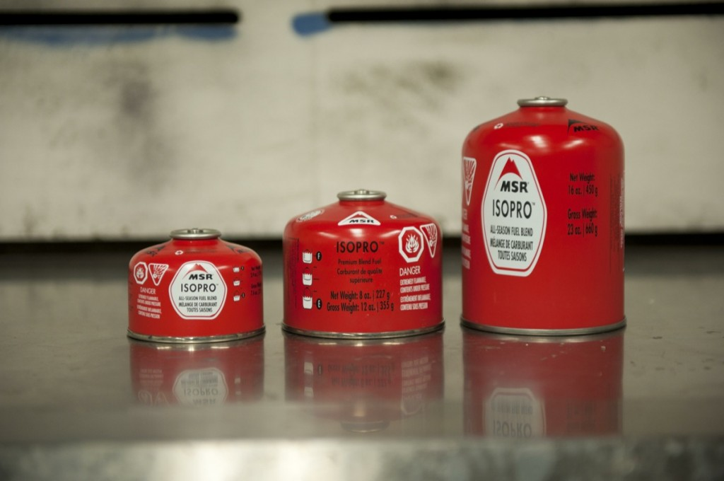 The complete line of MSR fuel canisters, including the new 16 oz. size.