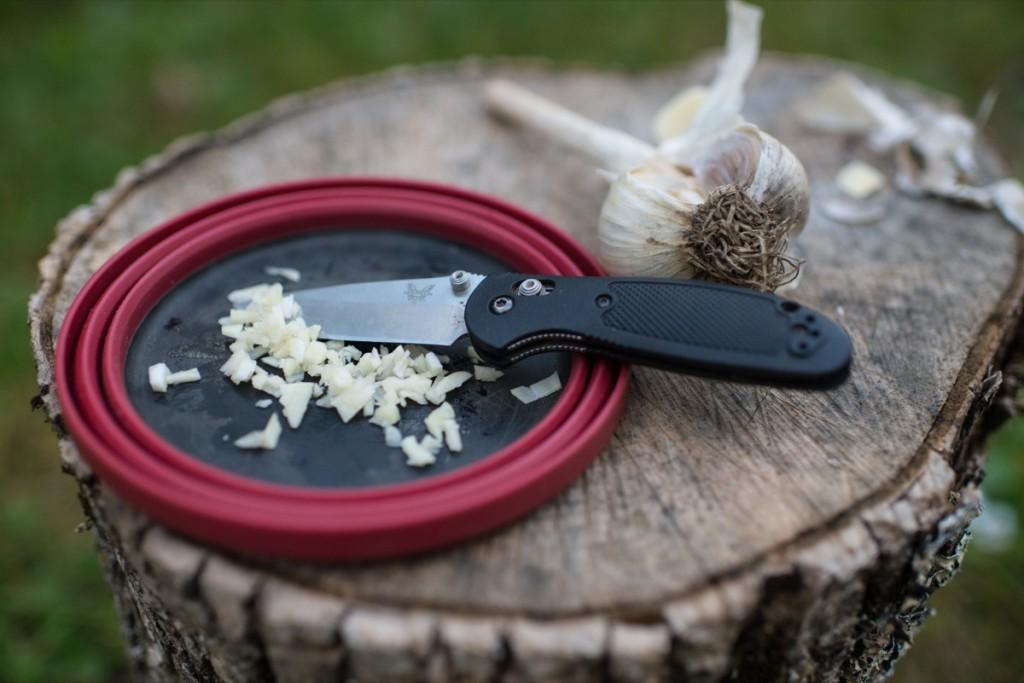 Minced Garlic on Log