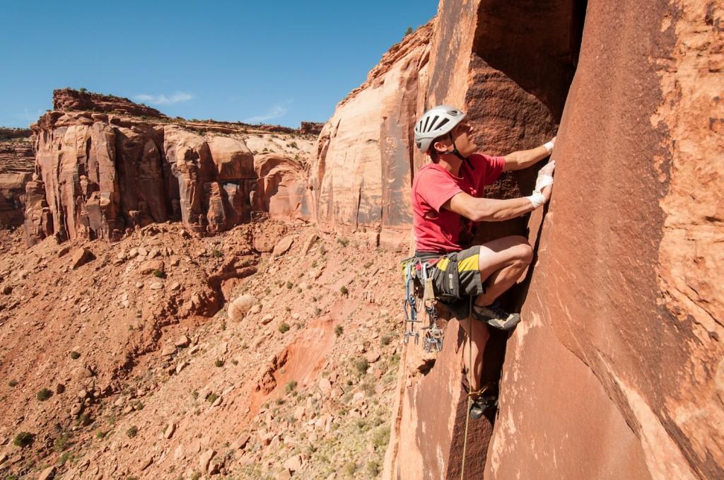 "Luke Mehall Climbing ""No Take on the Flake""."