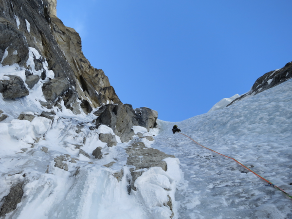 Climbing up the initial ice couloir.Photo Jewell Lund