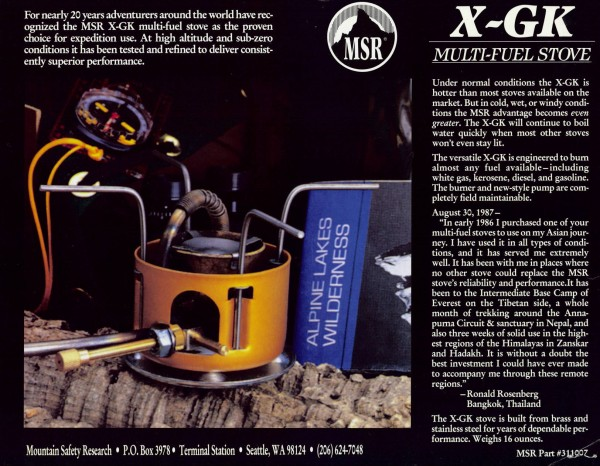 MSR X-GK Stove Sell Sheet, circa 1990