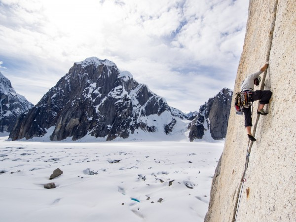 Tobey Carman makes his way up an arête we dubbed 'The Prow'. Photo: ©Scott Rinckenberger