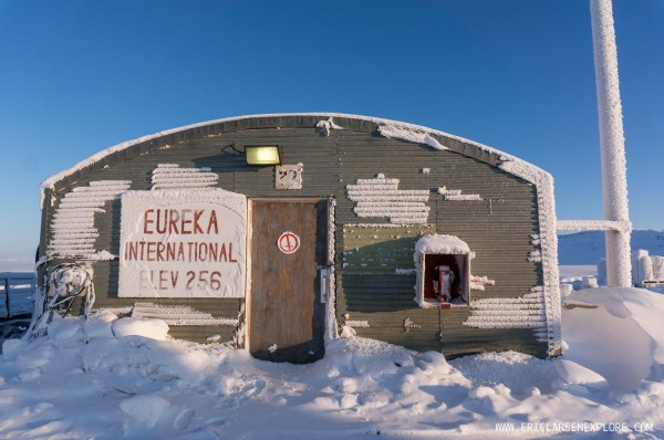 Eureka International - We left Resolute on March 15 and stopped to refuel at a very remote weather station on Ellesmere Island. We did jumping jacks to stay warm in the 35 below zero temperatures to stay warm as the hand rolled barrels of A1 jet fuel to the plane.