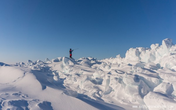 Scouting a route through some really bad pressured ice!
