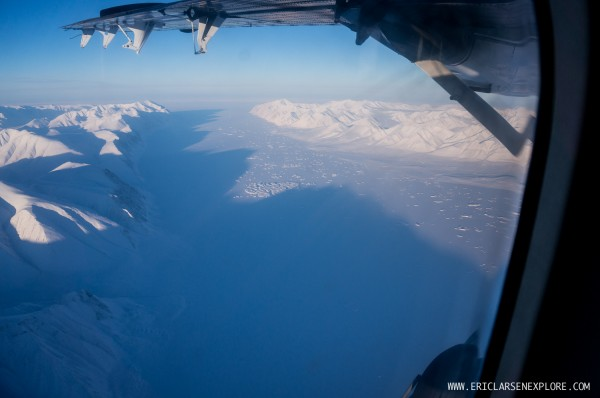 Flying over Ellesmere Island in crystal clear skies on our way to Cape Discovery.