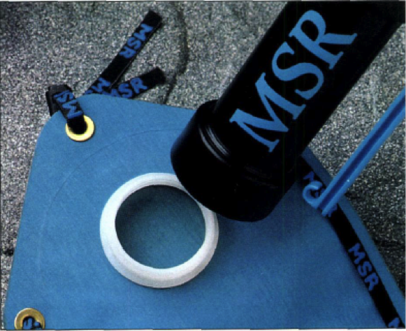 The WaterWorks filter attached directly to the MSR Dromedary Bag, also launched in 1991.