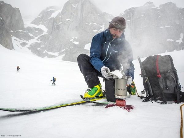 Melting snow in Alaska's Ruth Gorge with the Reactor Stove system.