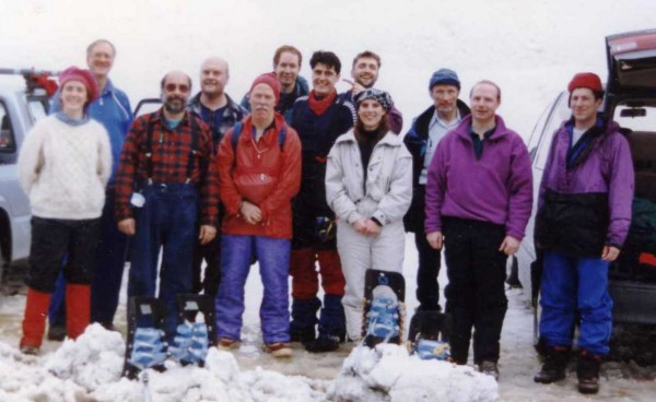 The MSR team on a snowshoe testing trip at Steven's Pass, 1996.