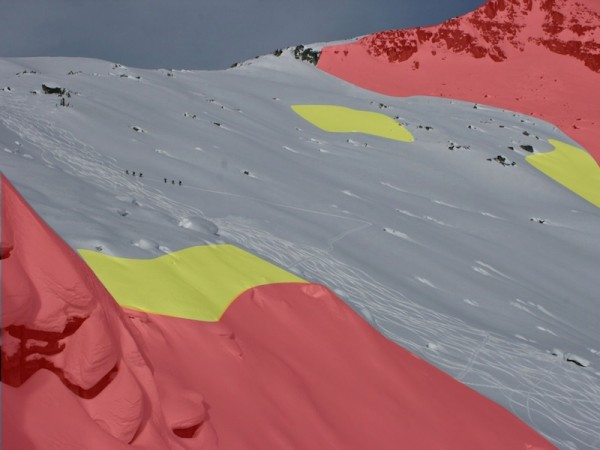 Skiers are sticking to terrain less than 30 degrees and look to having a great time.Red shows terrain greater than 35 degrees while yellow shows terrain 30-35 degrees.