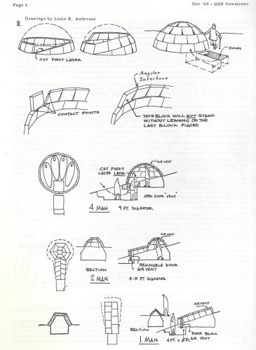"""Building an igloo"" construction drawings from the November 1969 Mountain Safety Research Newsletter"