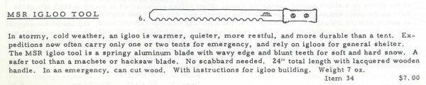 The MSR Igloo Tool from the November 1969 Mountain Safety Research Newsletter