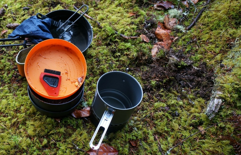 scrape dishes in backcountry