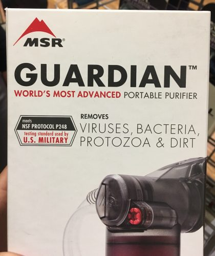 MSR Guardian displaying water filter testing results