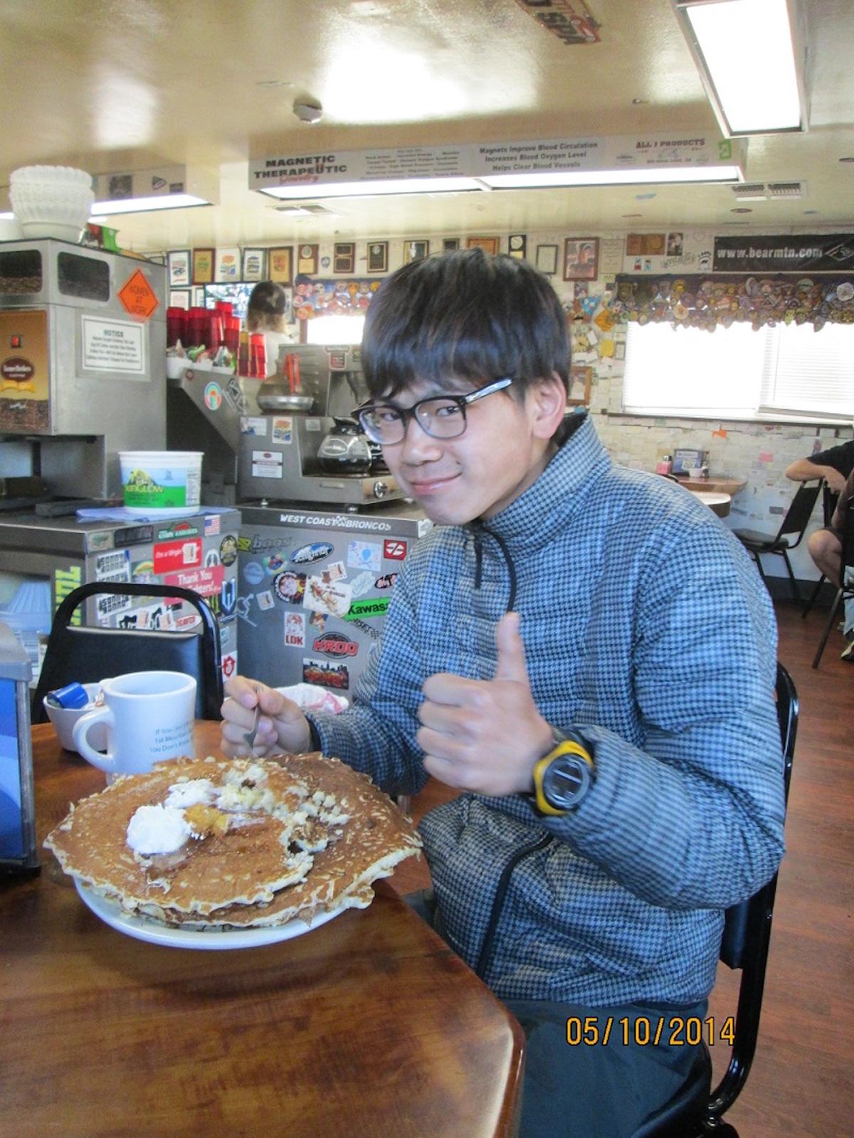 eating at diner during thru hike