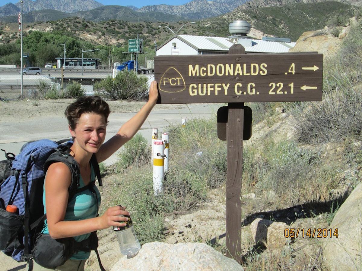 thru hiking sign to mcdonalds