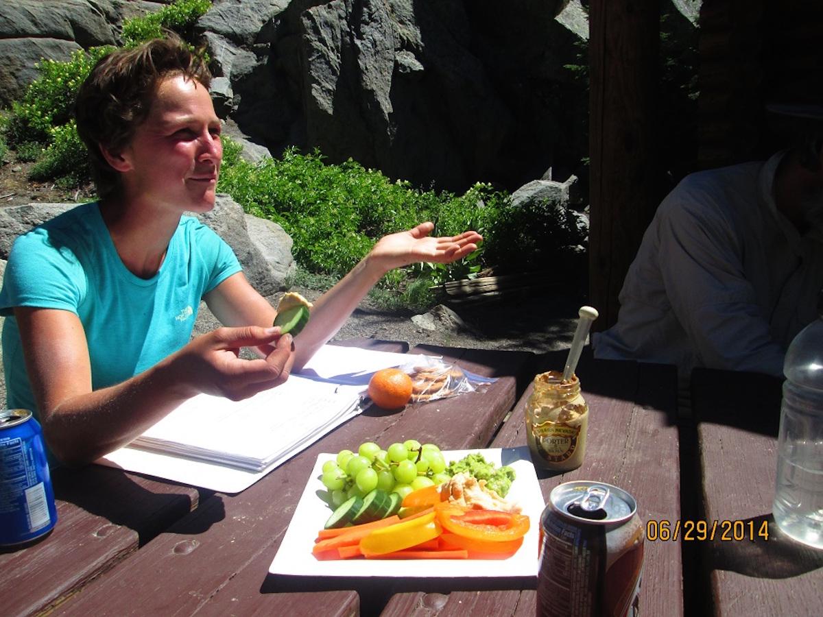 stopping to eat on thru hike