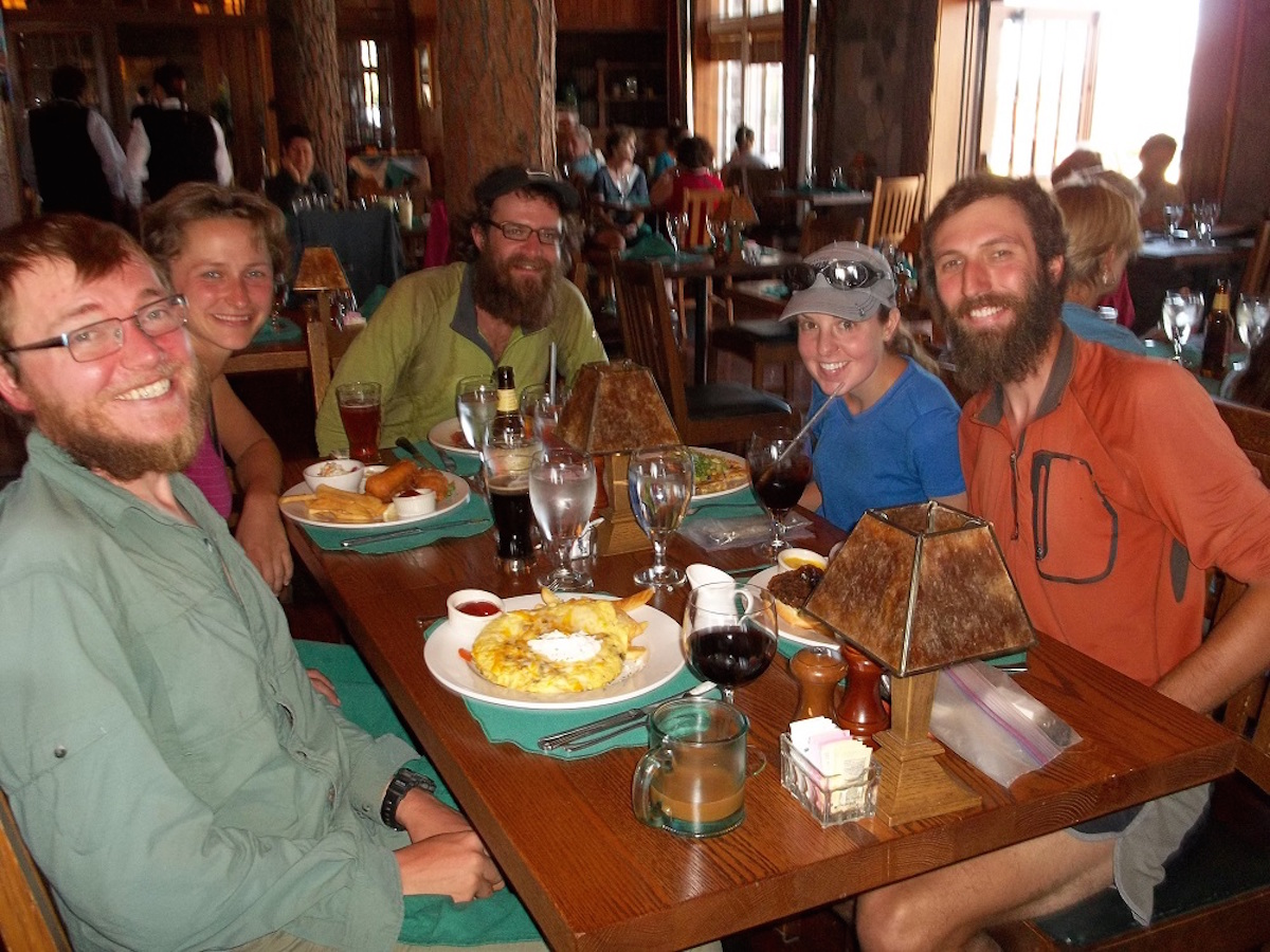 eating in town while on thru hike