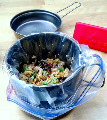 spicy fried rice with thai basil backpacking meal
