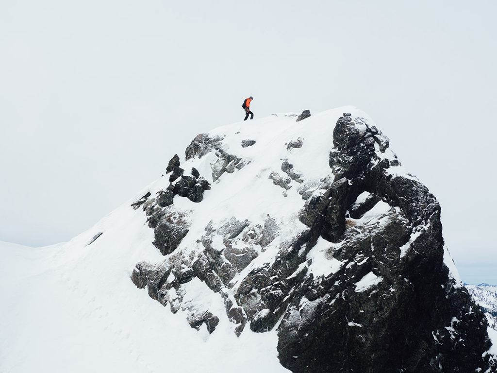 winter climbing on peak