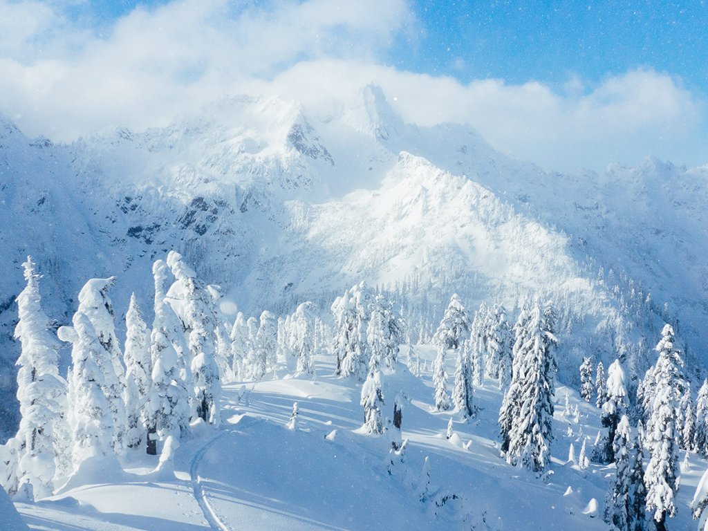Chair Peak in winter, near Snow Lake, Snoqualmie Pass, WA.