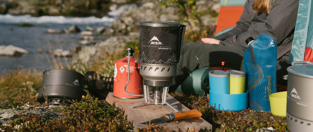 cookware assortment and backpacking stoves