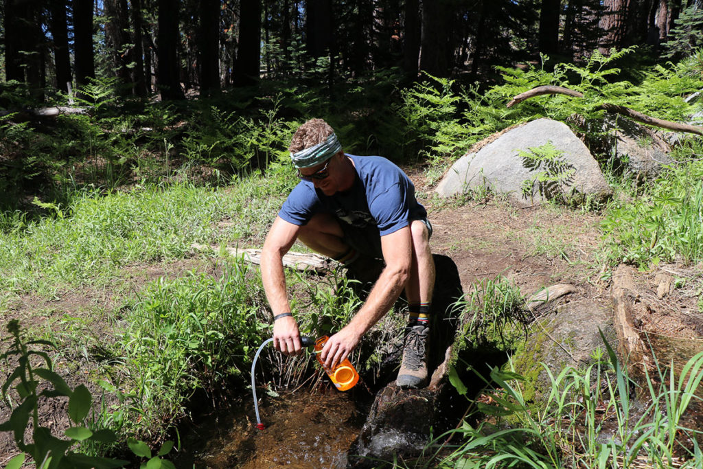 backcountry water treatment with microfilter