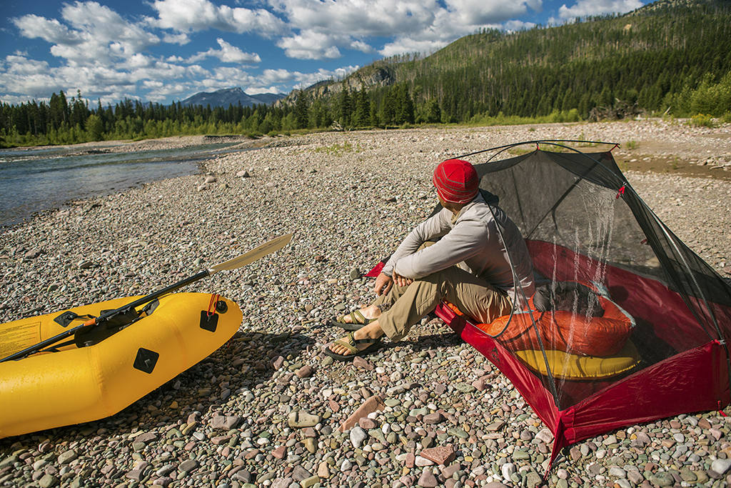 tent camping on river trip