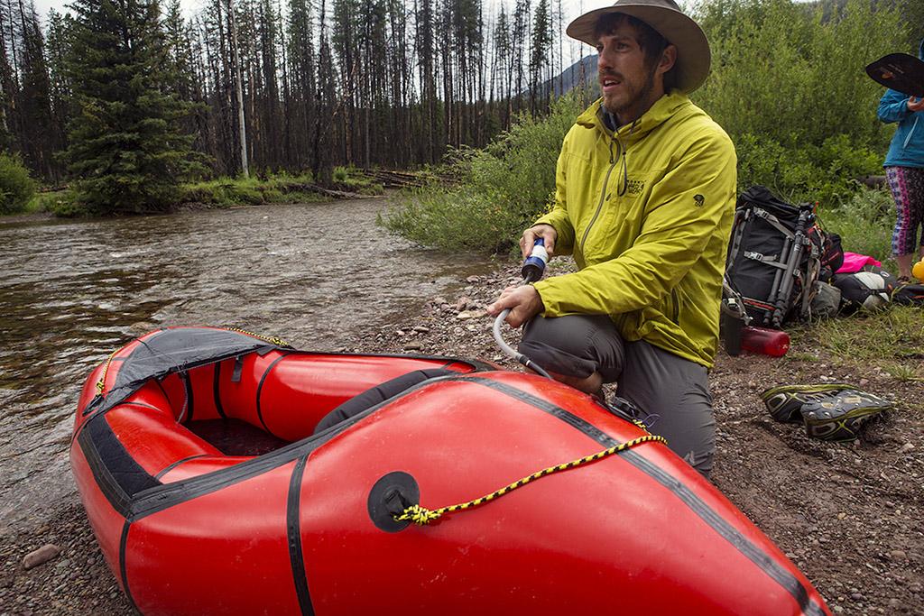 inflating raft