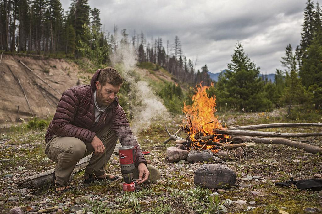 using windburner stove on packrafting trip