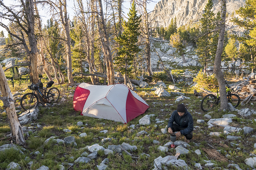 bikepacking tent at camp