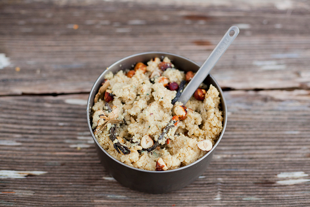 Bikepacking Recipe: Mushroom and Blue Cheese Couscous with Hazelnuts