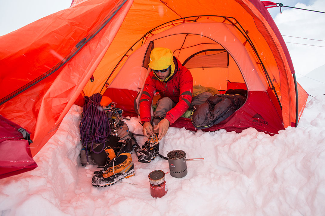 getting ready while winter camping