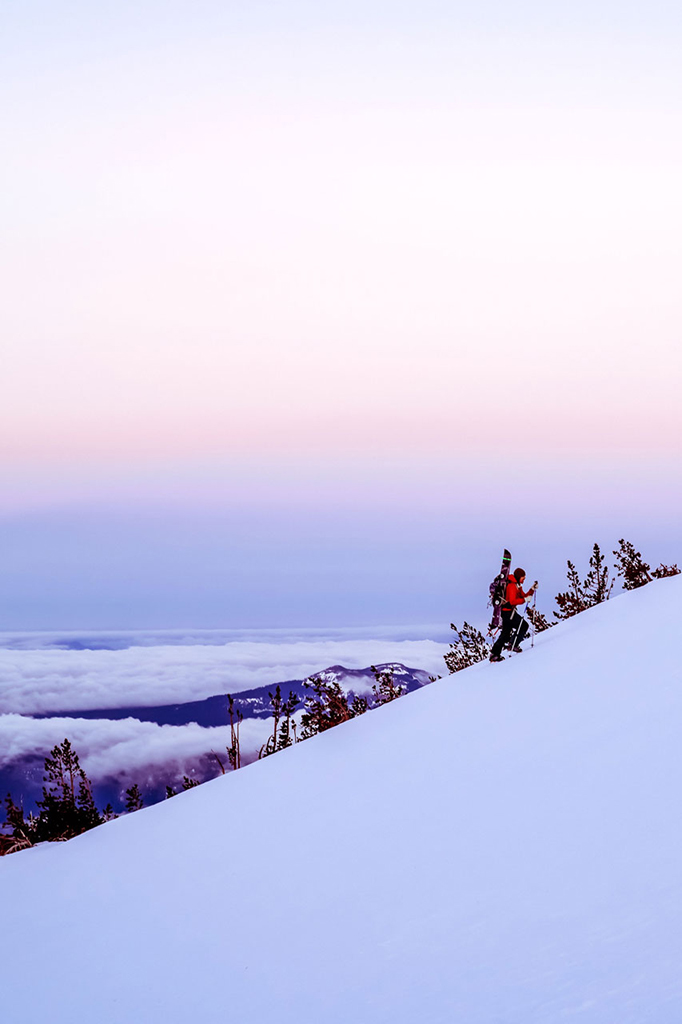 ski mountaineering at sunset