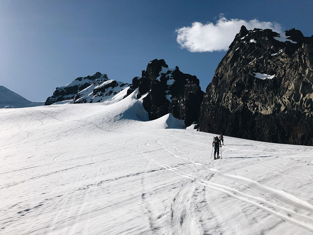 ski mountaineering up mountain