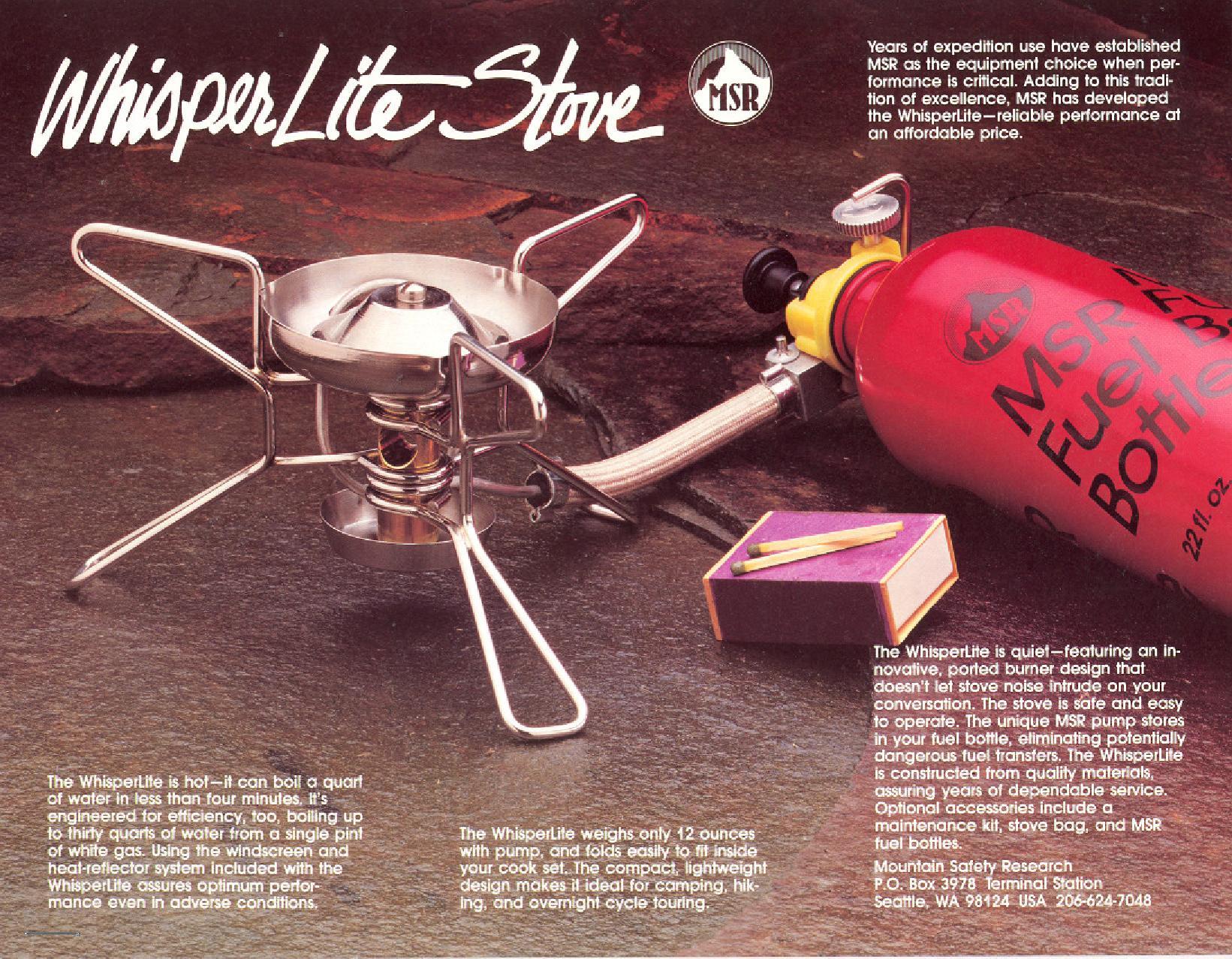 MSR WhisterLite stove 1984