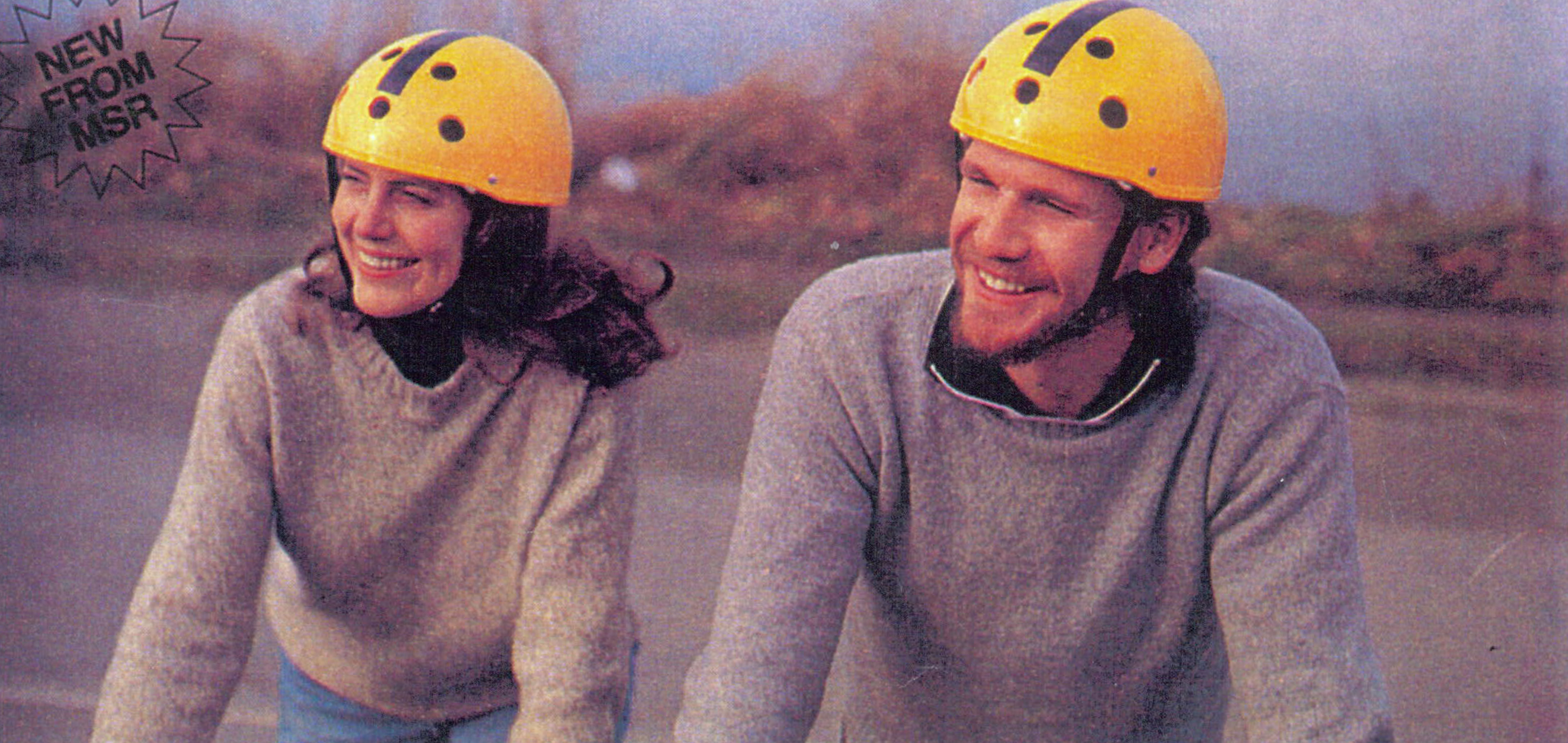 Bicyclists with msr helmets