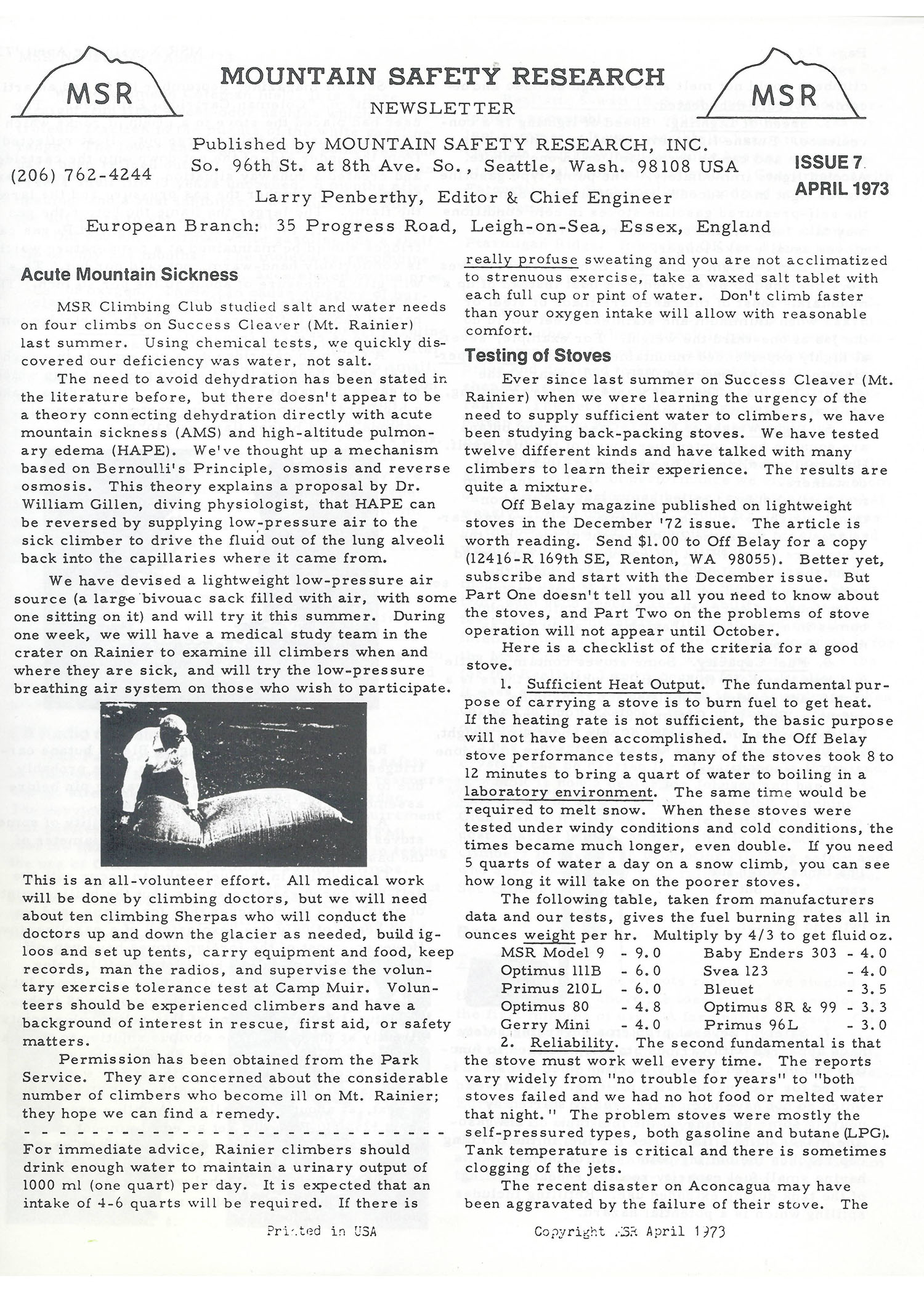 Mountain Safety Research Newsletter 1970s