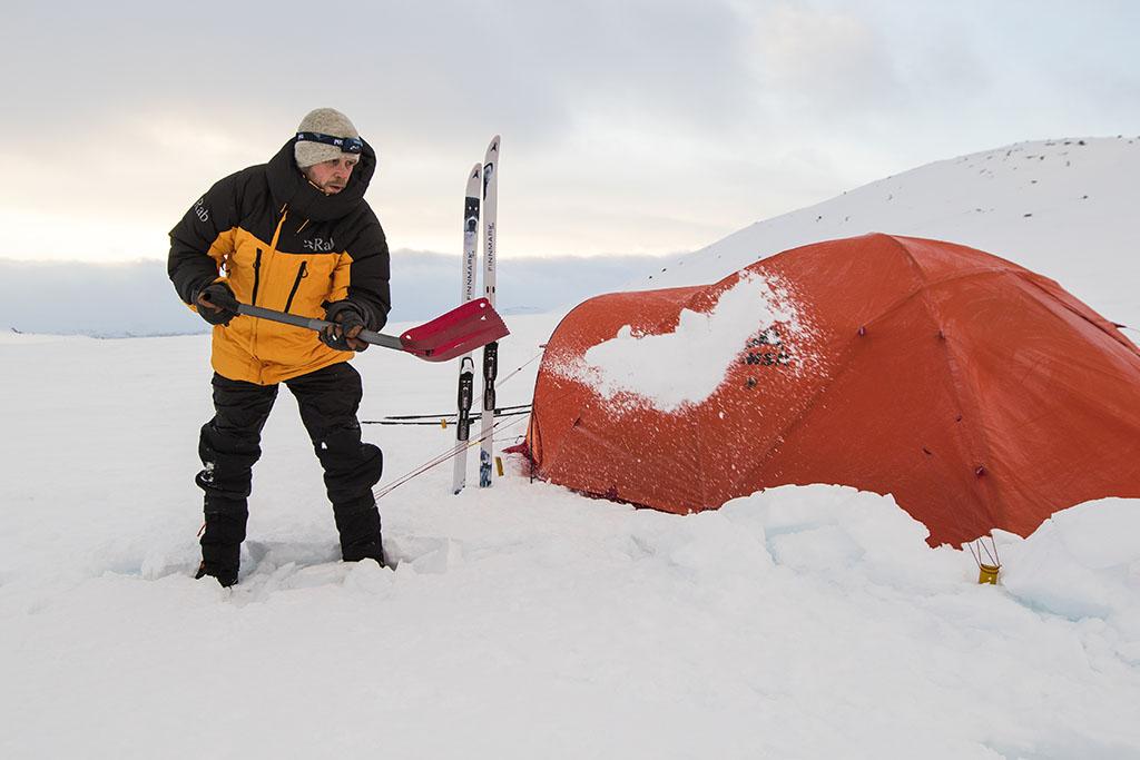 snow shovel and 4 season tent