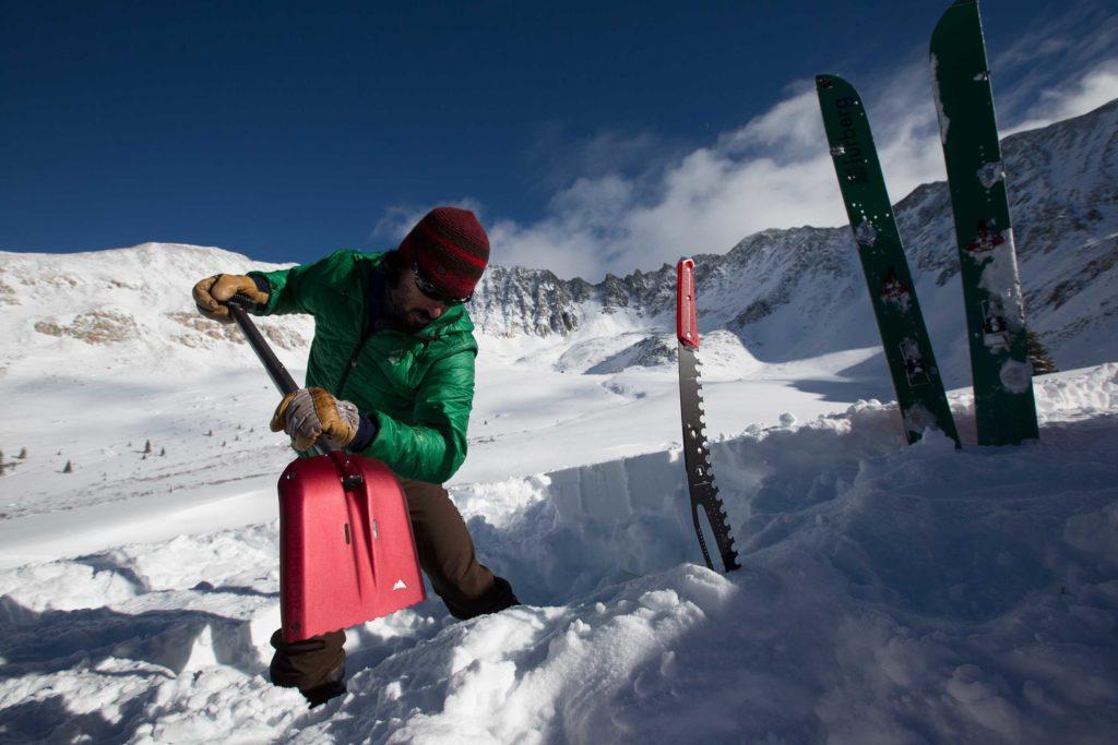 MSR snow shovel and backcountry gear