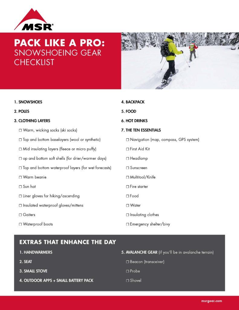 Snowshoeing gear checklist