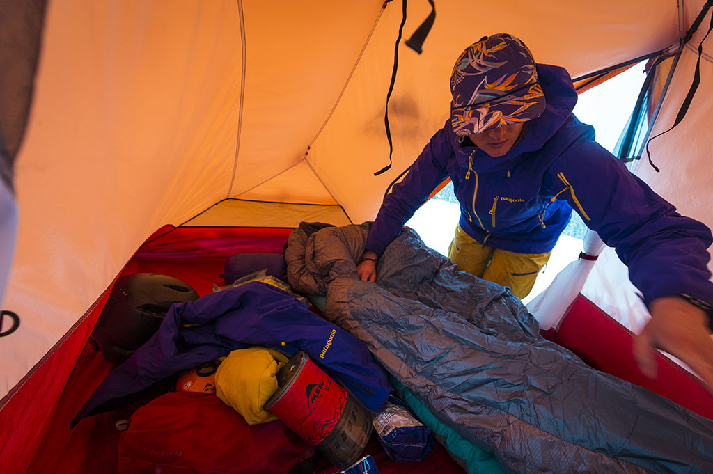 setting up your tent and sleeping pads