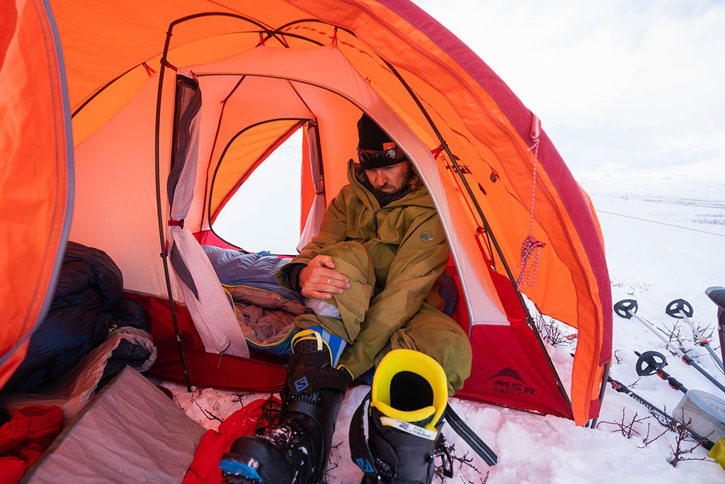 changing clothes while winter camping