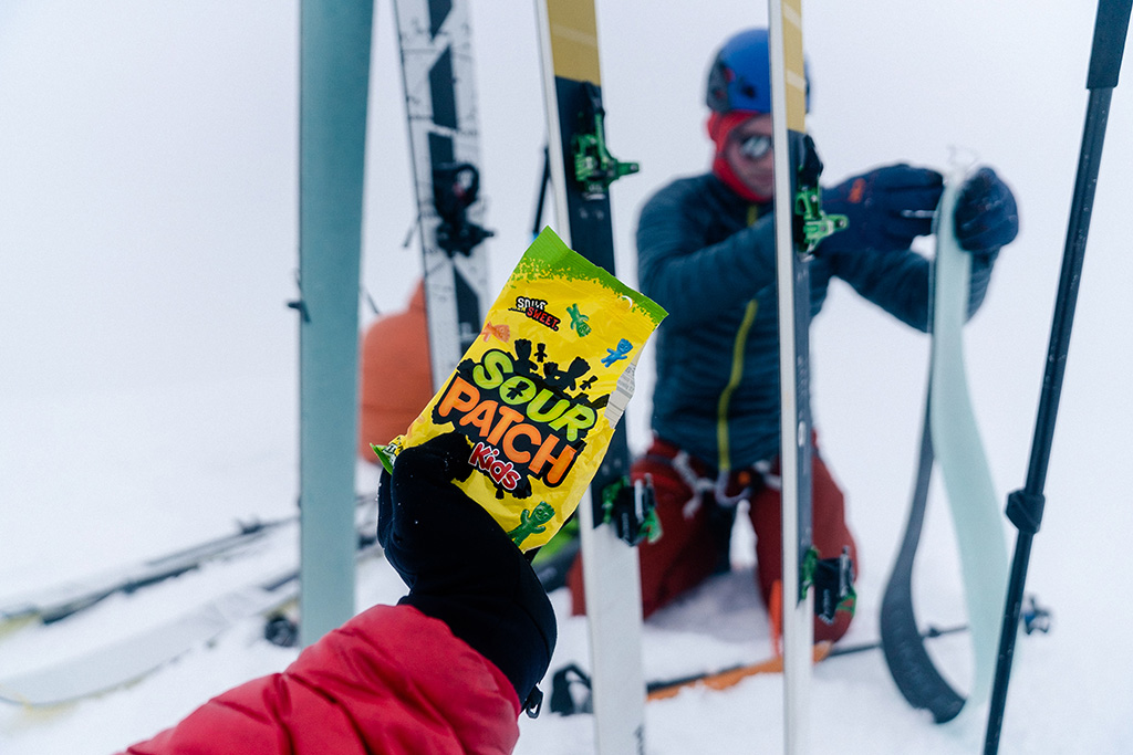 ski break with snacks while weather clears