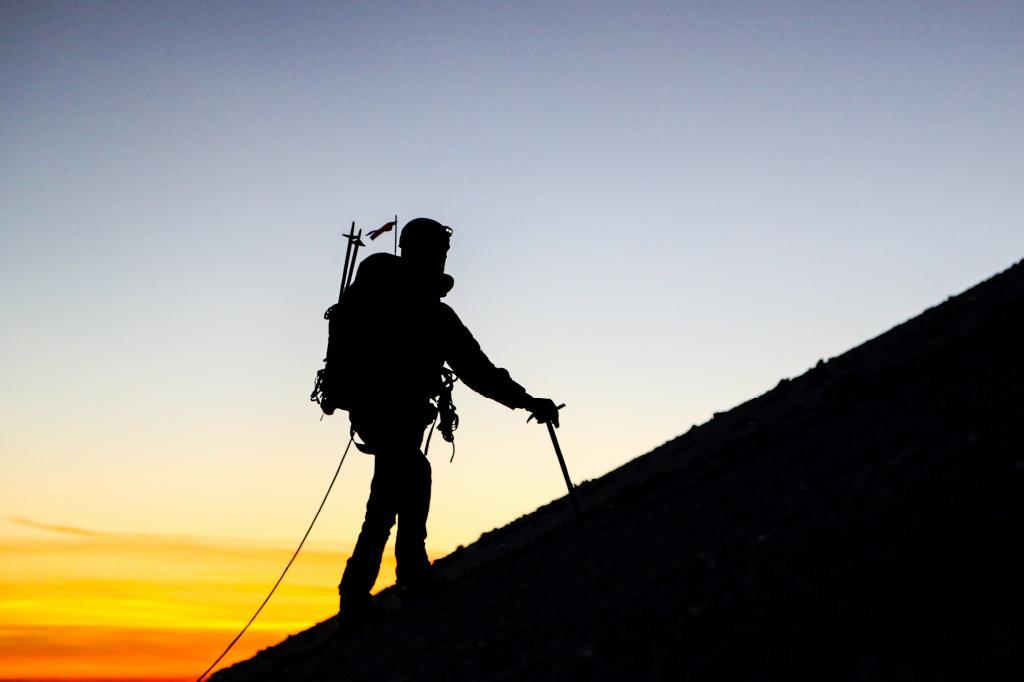 high altitude climb at dawn