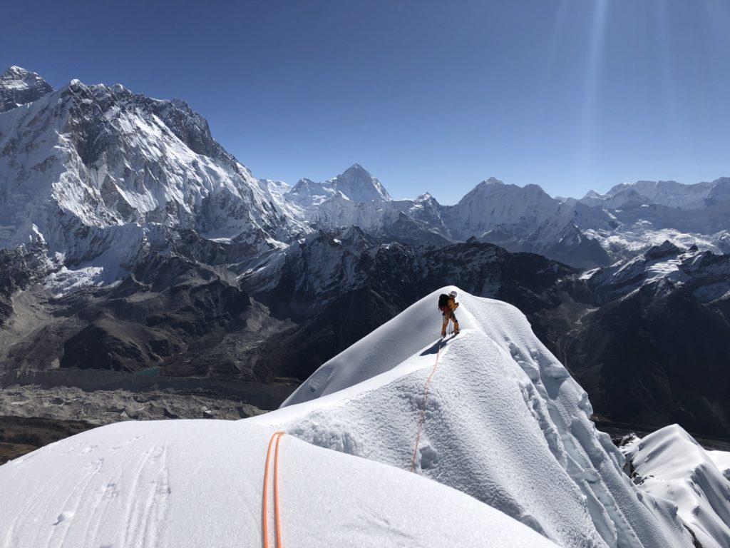 Sammy Podhurst leading along the summit ridge of Lobouche.