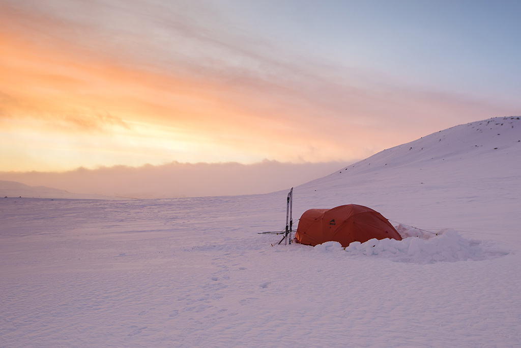 MSR Tent in Snow at Sun Rise