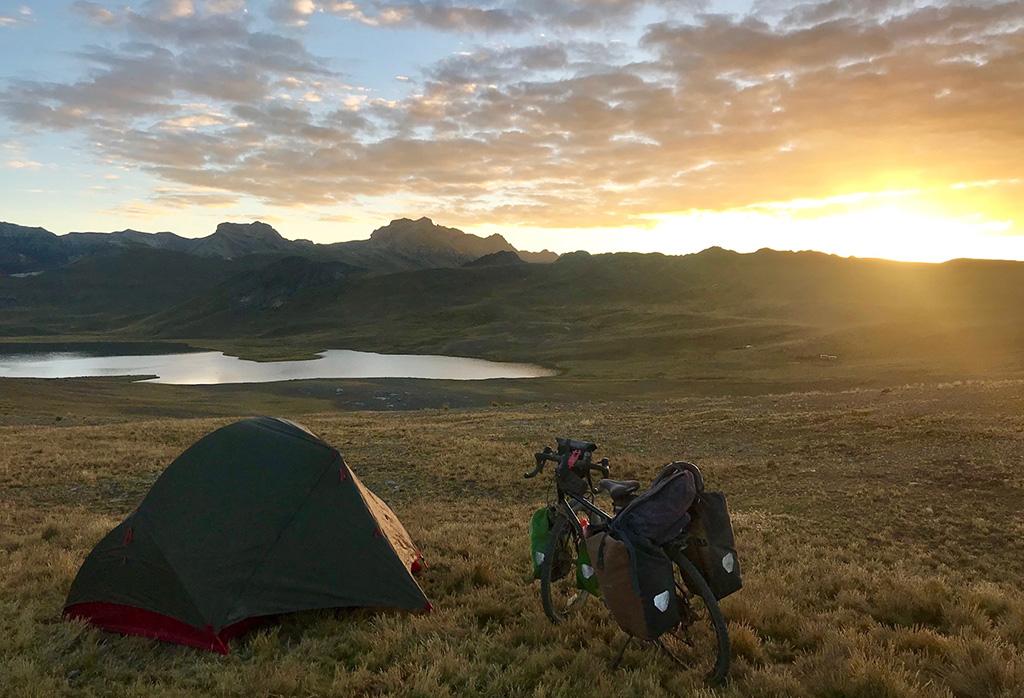 tent setup on cycling trip