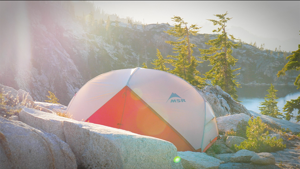 Hubba Hubba tent setup on backpacking trip
