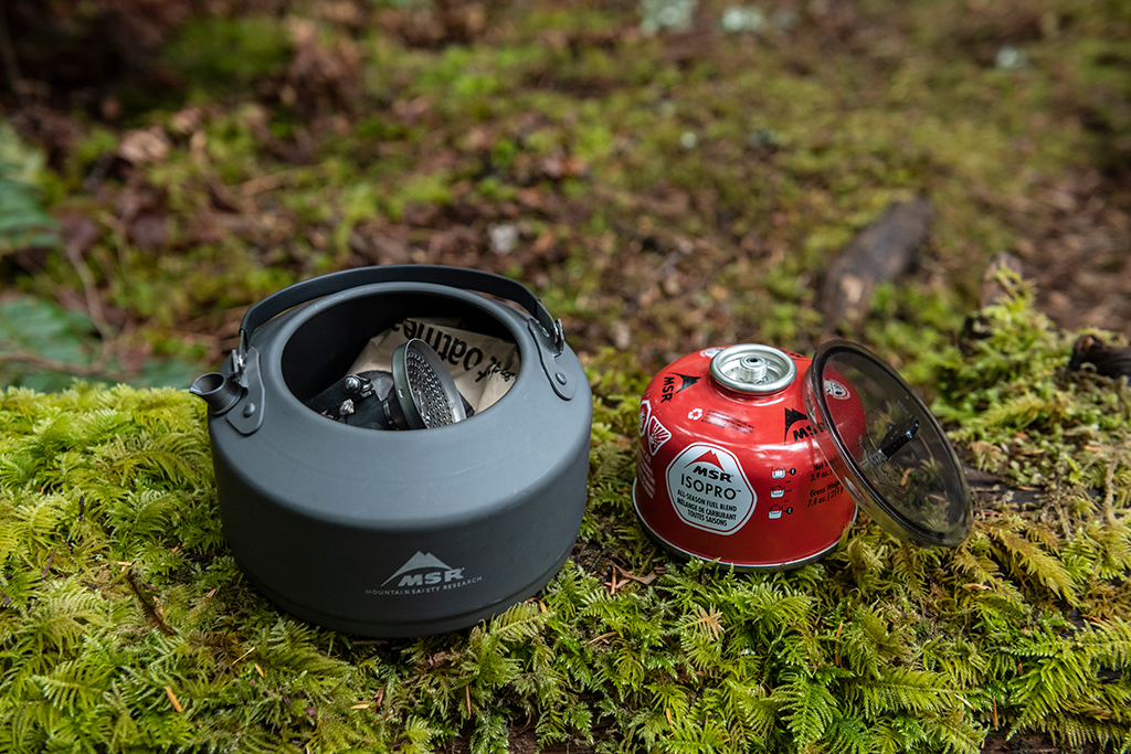 teapot with backpacking stove